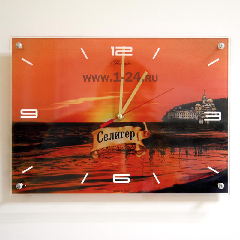 """Часы """"Селигер, закат"""" двойные со стеклом"""