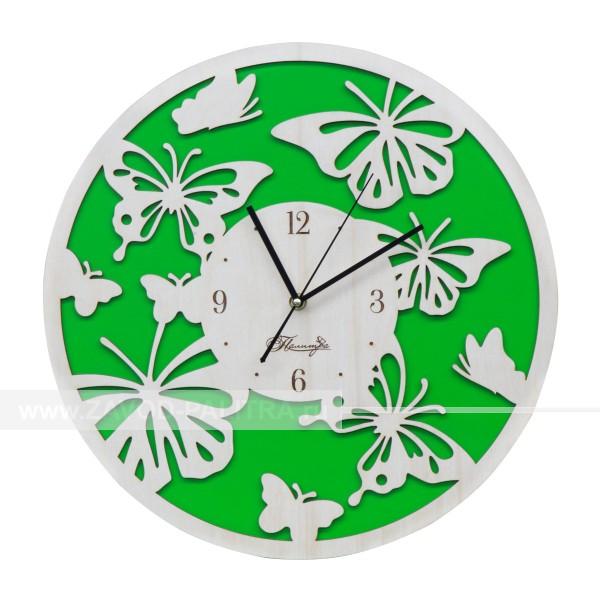 Часы деревянные резные Бабочки D400