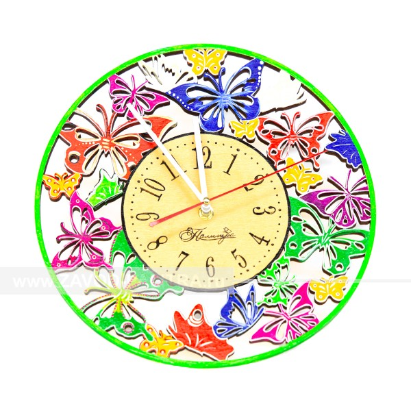 Часы деревянные цветные резные Бабочки D300