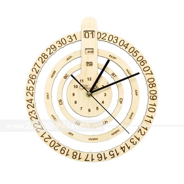 Часы деревянные с календарем Торжок