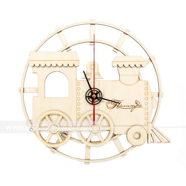 Часы деревянные детские Паровоз