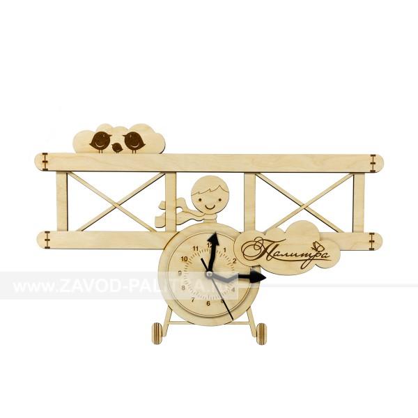Часы деревянные детские для мальчиков Самолетик