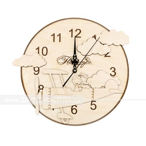 Часы деревянные детские для девочек Самолетик