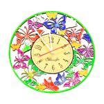 Часы деревянные цветные резные Бабочки D300 60115-2